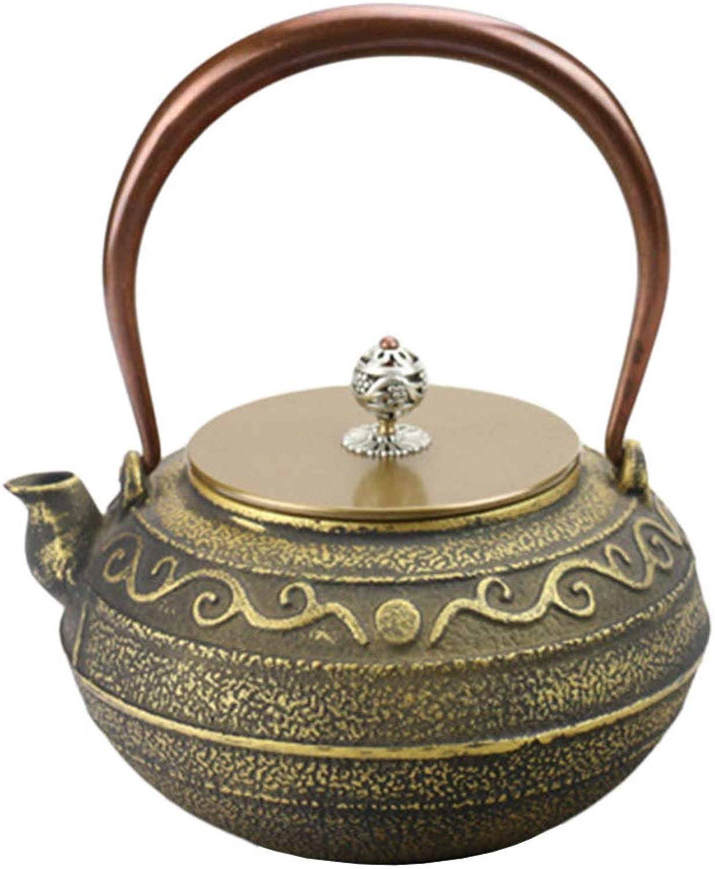 QINJLI Fer théière Xi Jin grain fonte Pot fonte japonaise bouilloire thé bouilloire théière Antique cadeau 1,2 L