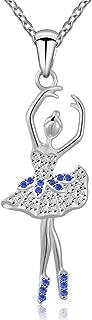 Silver Dancing Ballerina Necklace Recital Dancer Gift Ballet Pendant Necklace for Girls Women