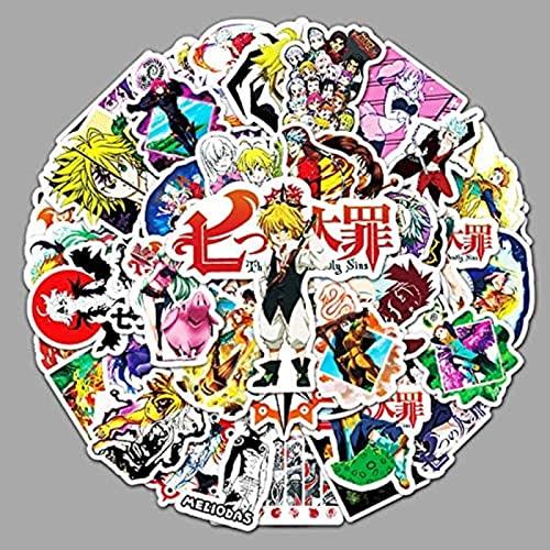 Earmeryy 52 Uds Dibujos Animados Anime Siete pecados Capitales Graffiti Pegatinas portátil Equipaje Nevera Rodillo decoración Pegatinas