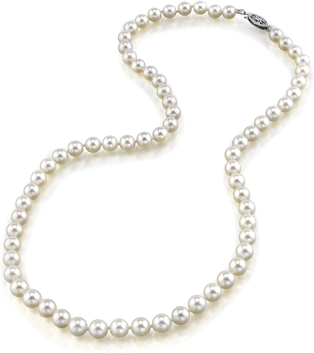 THE PEARL SOURCE 14K Gold 4.0-4.5mm AAA Quality Round Genuine White Japanese Akoya Saltwater Cultured Pearl Necklace in 17