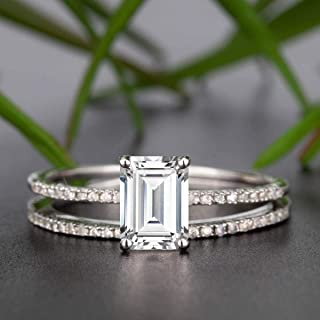 2 Carat Emerald Cut Moissanite and Diamond Wedding Bridal Ring Set In White Gold
