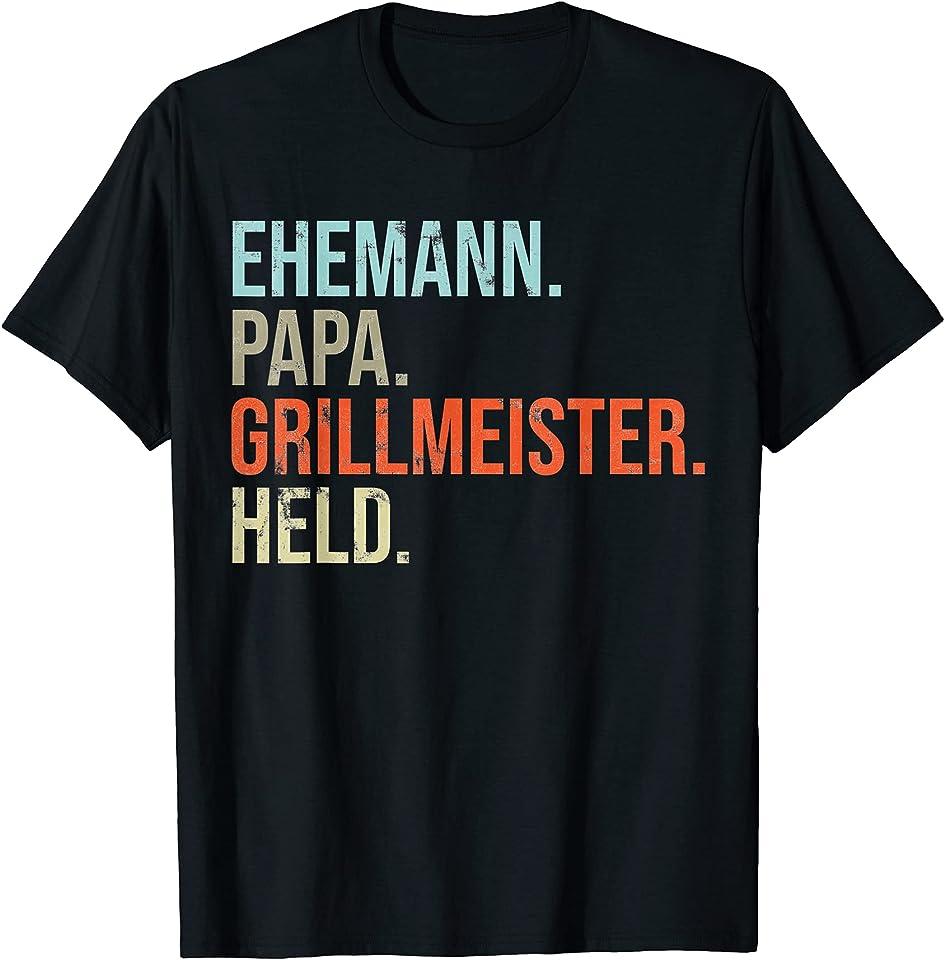 Herren Ehemann Papa Grillmeister Held T-Shirt