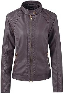 neveraway Womens Biker Short Fashionable Oversized Leather Trench Coat