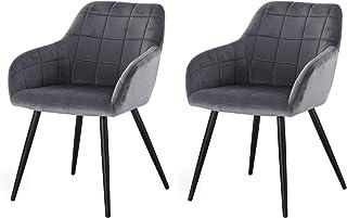 eSituro 2 x Sillas de Comedor Nordicas Diseño Vintage Moderna Silla Tapizada en Terciopelo con Reposabrazos Silla Nordicas Cocina Salón Estructura de Metal Gris Oscuro
