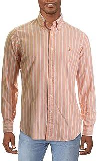 Polo Ralph Lauren Long Sleeve Classic Fit Striped Oxford Shirt Orange/White
