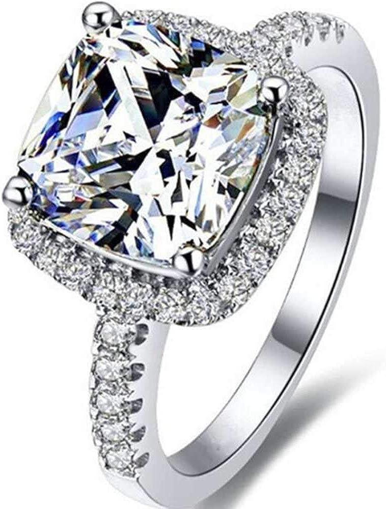 Platinum Plated 4 Carat Princess Cut CZ Simulated Diamond Wedding Engagement Proposal Ring