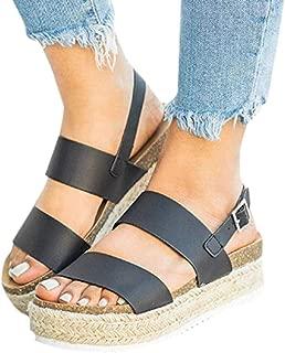 Clearance! Swiusd Womens Girls Comfy Flat Roman Sandals Retro Open Toe Slingback Sandals Weaved Thick Bottom Beach Shoes