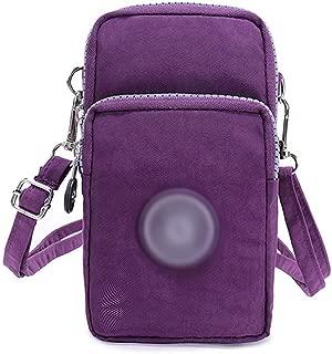 Women 3-Layers Nylon Wristlet Purse Cellphone Pouch Handbag with Zipper