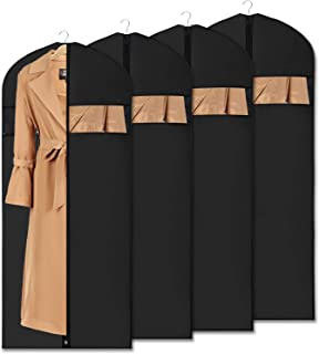 """Univivi Garment Bag Suit Bag for Storage and Travel 43 inch, Anti-Moth Protector, Washable Suit Cover for T-Shirt, Jacket, Suits, Coats, Set of 5, 24""""X54"""""""