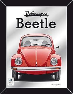 Empire Merchandising 671813 Volkswagen, Escarabajo, Beetle Rojo, Espejo con decoración y Marco imitación Madera, 30 x 40 cm Tamaño