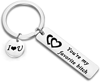 Funny Couple Keychain You're My Favorite Asshole/Bitch Jewelry for Her Boyfriend Gift Husband Keyring