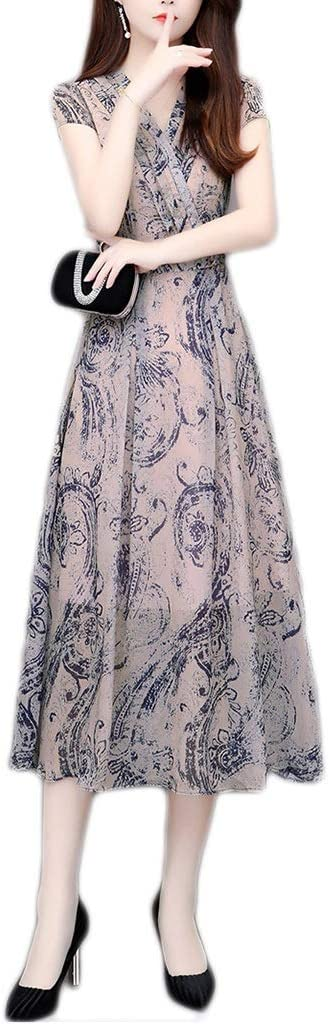 Dress, Women's Cocktail Formal Swing Long-Sleeve Printed Chiffon Skirt in Dress. 3 Colors, 6 Sizes Sleeveless Slim Business Pencil (Color : B, Size : XXL)