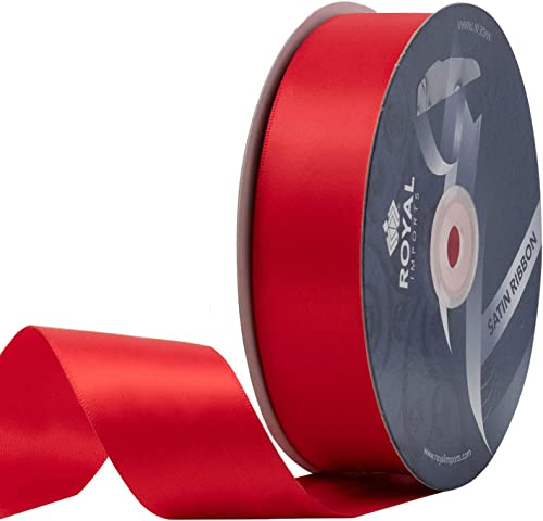 """2021 Red Satin Double Face Fabric Ribbon online sale (1 1/2"""") for Gift Wrapping, online Bow Making, Hair Decoration, Holiday, Wedding, Floral Crafts- 50 YDS Roll online sale"""