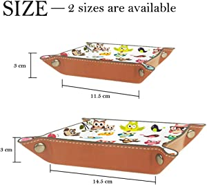 Cute Owls Valet Tray Storage Organizer Box Coin Tray Key Tray Nightstand Desk Microfiber Leather Pouch,16x16cm