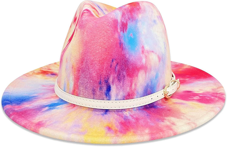 Gossifan Tie-dye Wide Brim Fedora Hats for Women Multicolor Felt Panama Hat