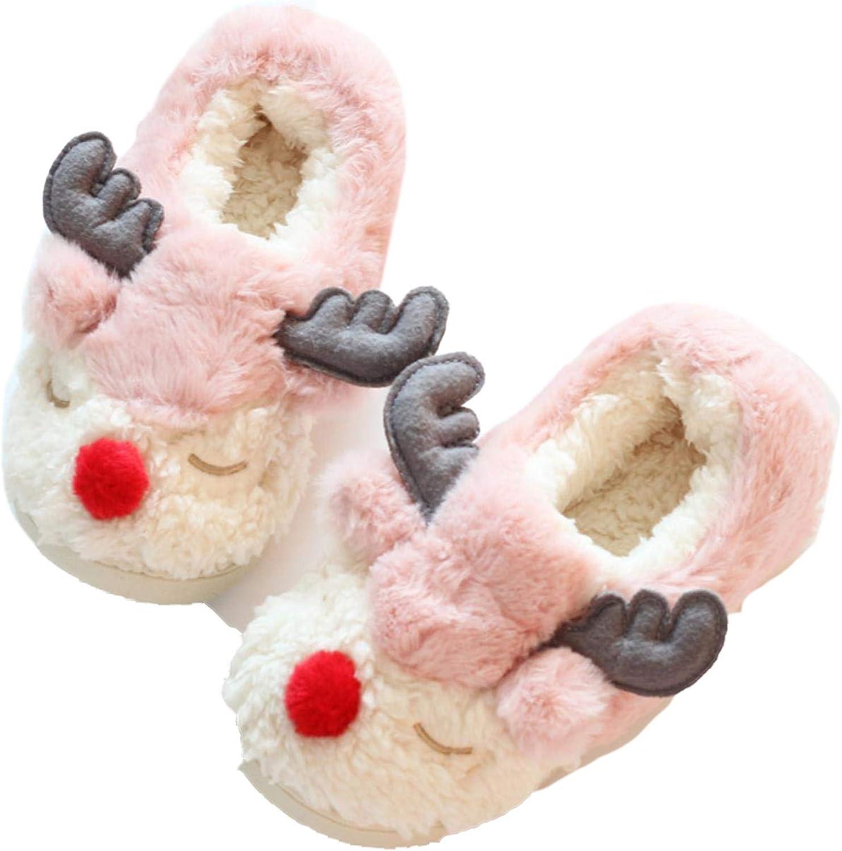Women Indoor Plush shoes Men Moose Thick Soles Cotton Slippers Plus Size