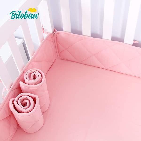 迷你婴儿床保险杠垫女孩 24x38 可机洗托儿所便携式婴儿床保险杠 4 件婴儿迷你婴儿床衬垫粉色