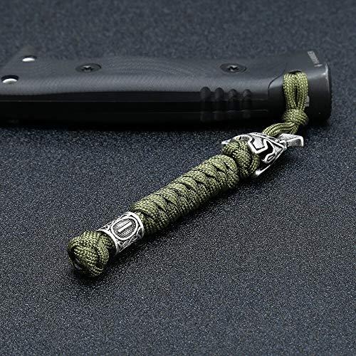 YJZZ Viking Rune-Korn-Lanyard Schlüsselanhänger Außen Überleben Paracord Seil Schlüsselanhänger Spartan Krieger Schmucksachen handgemachtes Auto-Schlüssel-Messer-Keyring (Farbe : Camouflage)