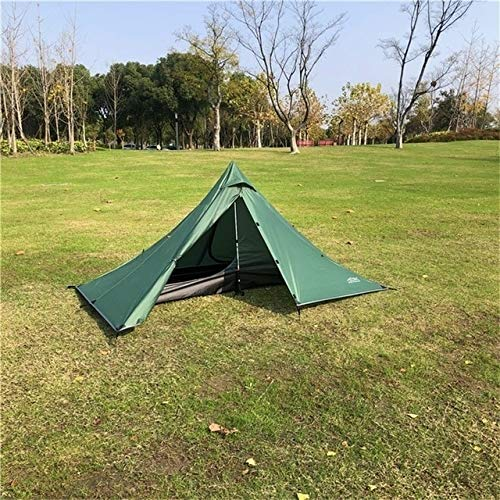 Mdsfe Single Person Ultralight Rodless Pyramid Tent Outdoor Camping Teepee Waterproof 4 Season Camping Hiking Hunting Backpacking Tent-Inner and Outer Tent,A2