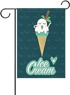 Starojun Summer Mint Ice Cream Cute Cartoon Characters in Waffle Cone Funny Heart Polyester Garden Flag Banner 12