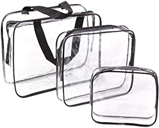 CharmCollection 3-in-1 Clear Travel Toiletry Bags, Transparent Zippered Cosmetic Carry Pouch, PVC Waterproof Makeup Case, ...