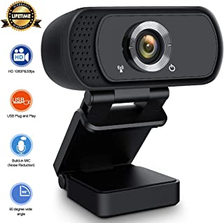 HD Webcam 1080P with Microphone,Live Streaming Webcam USB Plug and Play Web Camera for PC Laptop Desktop,External 90-degree Wide Angle Webcam for Video Conference Recording Gaming Skype XBox One OBS