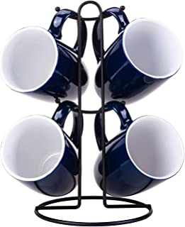 Cutiset 16 Ounce Ceramic Functional Coffee Mug Set with Durable Metal Stand, set of 4, Navy