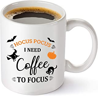 Hocus Pocus I Need Coffee To Focus Funny Coffee Mug - Cute Autumn Halloween Cup For Men, Women, Best Friend, Sister, Her - 11 oz Tea Cup White