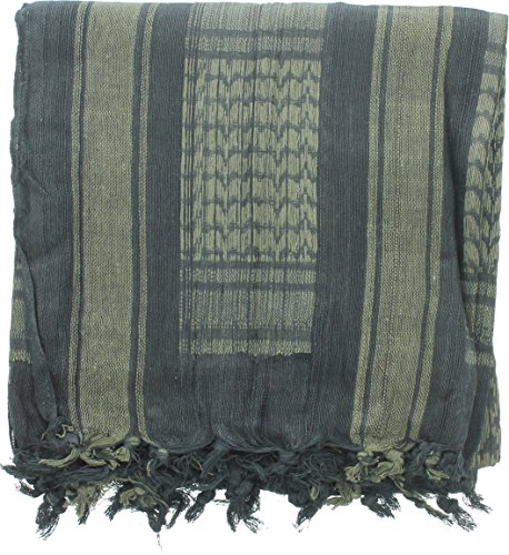 100% Cotton Shemagh Tactical Desert Keffiyeh Scarf (Black & Olive Drab)