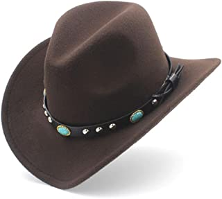 Adult Wool Blend Western Cowboy Hat Cowgirl Cap Turquoise Leather Band