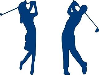 Golferin und Golfer Aufkleber Autoaufkleber 2 Stück (Blau)