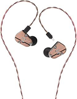 RevoNext Audio QT5 Professional in Ear Headphones with Detachable Cable Noise-Isolating in Ear Monitors 1DD+1BA Metal Housing (Coppery no MIC)