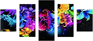 Adarl DIY 5D Diamond Painting by Number Kit, Full Drill Rhinestone Embroidery Cross Stitch Picture for Wall Decoration, 5 Sets of Splicing Painting(Colorful Floral)