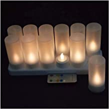 ZCDZJXB 12 Piece Set Remote Control Rechargeable Flameless Candle Light 4H/8H Timer Controller Frosted Stand F/Christmas P...