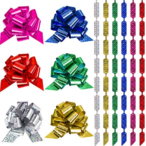 WILLBOND 4.5 Inches Wide Pull Bows Wrap Pull Bows with Ribbon for Xmas Wedding Decoration Wrapping (48 Pieces)