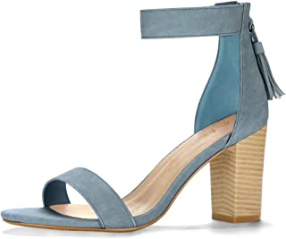 Allegra K Women's Tassel Ankle Strap Block High Heeled Sandal