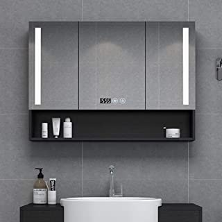 Home Bathroom Wall Cabinets Mirrored Cabinet Wall/Mirror Cabinet Wall Mounted Bathroom Mirror /LED Illuminated Bathroom Mirror Cabinet With Demister Heat Pad And Shaver Socket Wall Mount Pull Switch 6