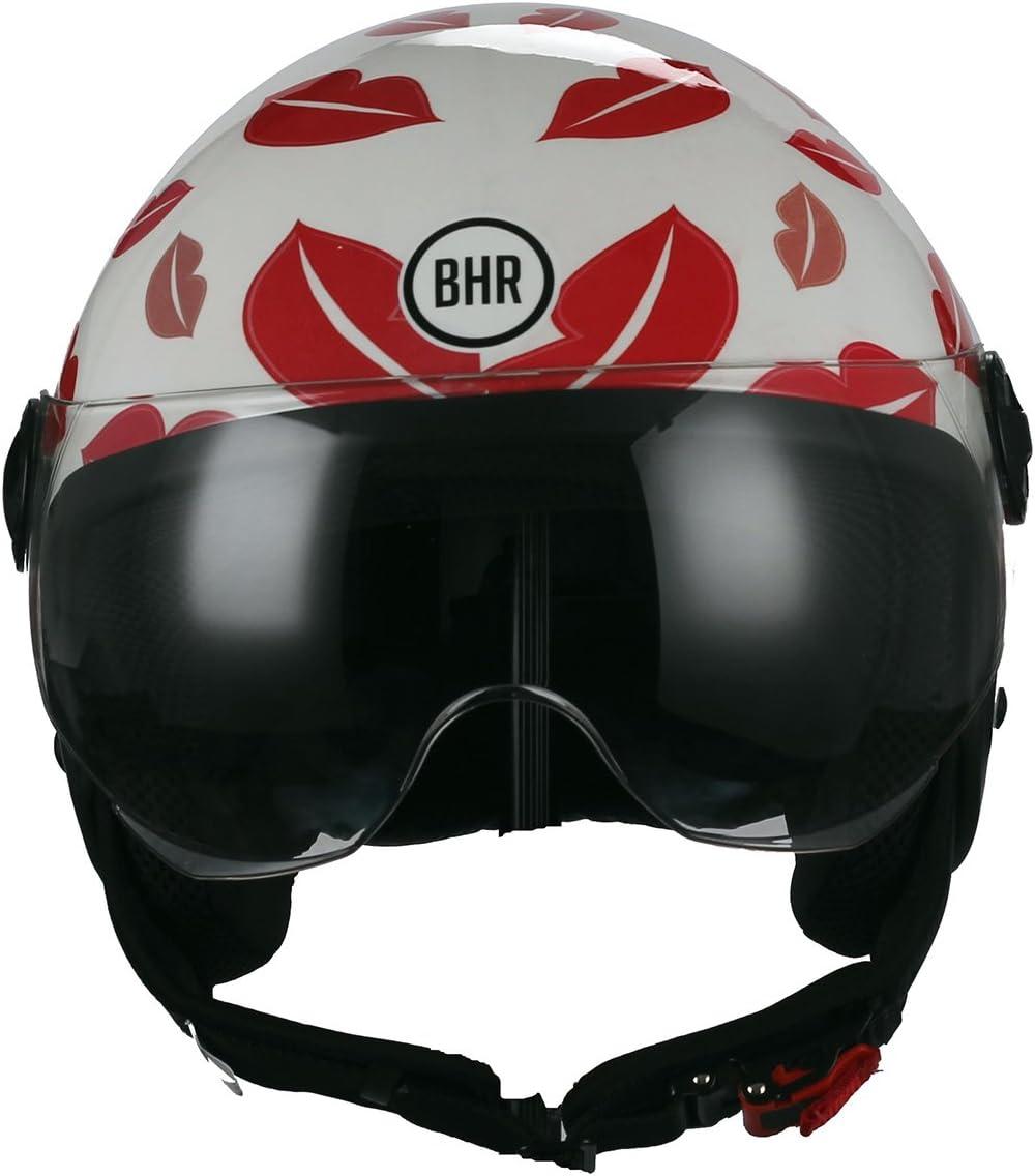 Bhr Demi Jet Motorradhelm Modell One 801 Weiss Und Rot Kiss Me GrÖße M Auto