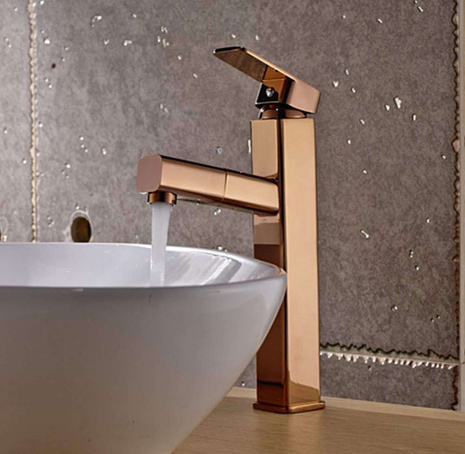 redOOY pink gold Pull Faucet Home Heightening Single Hole Shampoo Telescopic Above Counter Basin Wash Basin Faucet