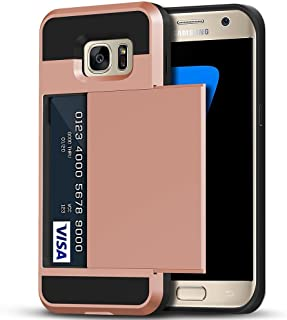 Galaxy S7 Edge Case, Anuck Slidable ID Card Slot Holder Galaxy S7 Edge Wallet Case [Credit Card Pocket] Hard Shell Shockproof Rubber Bumper Protective Case Cover for Samsung Galaxy S7 Edge - Rose Gold