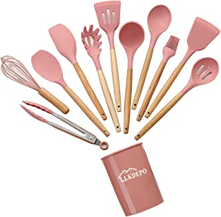 LKDEPO -11 pieces of silicone cookware, heat-resistant, BPA-free, non-toxic, wooden handle, heat-resistant 446°F, kitchen ...