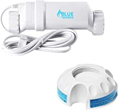 BLUE WORKS T-Cell-15 Salt Chlorination Replacement Cell Up to 40,000 Gallon Swimming Pools with a Cleaning Stand Compatible with Hayward Aqua Rite System/Turbo Cell(White)
