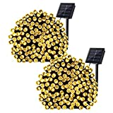 Qedertek 2 Pack Solar String Lights, 72ft 8 Modes 200 LED Solar Fairy