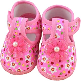 DZT1968 Baby Girl Cloth Round Dot Soft Sole Prewalker Mary Jane Shoes With Bowknot