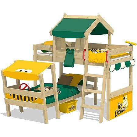 WICKEY Cama de matrimonio CrAzY Trunky Litera Cama infantil 90x200 para 2 niños en diseño oblicuo con somier de madera, verde-amarillo