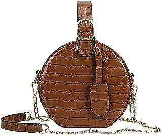 QZUnique Women's PU Leather Handbag Quilted Crossbody Bag Solid Color Round Shoulder Bag Handbag Purse with Zipper Closure