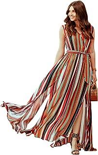 Chicwish Women's Elegance Keeper Stripes V-Neck Maxi Slip Chiffon Dress