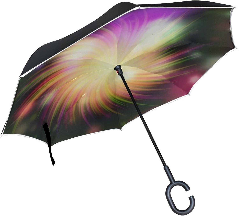 Double Layer Ingreened Swirl color Light Design Creative Decorative Umbrellas Reverse Folding Umbrella Windproof Uv Predection Big Straight Umbrella for Car Rain Outdoor with CShaped Handle