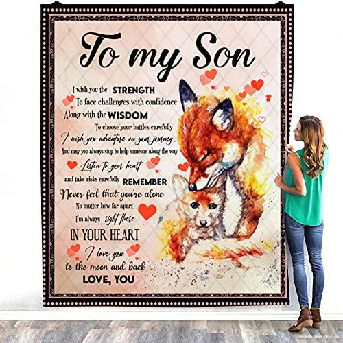 Watercolour Foxes Mom & Son To My Son I Wish You The Strength To Face Challenges - Manta de cama cálida para decorar dormitorios (127 x 152 cm)