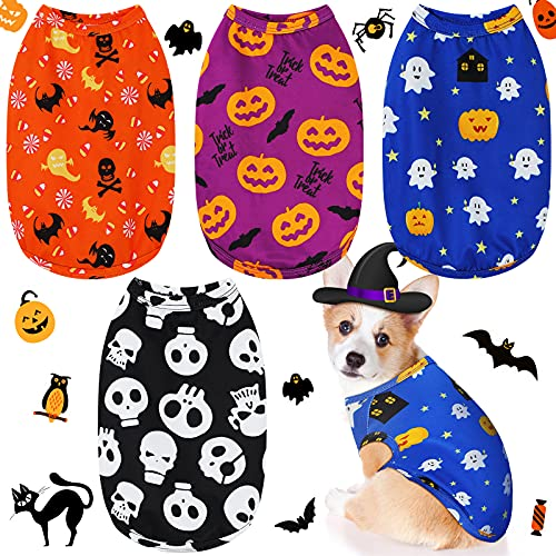 4 Pieces Halloween Shirt Dog Breathable Pet T-Shirt Printed Cute Dog Puppy Clothes Halloween Pumpkin Ghosts Bats Skeletons Dog Apparel for Halloween Parties Small Dog (Extra Large)